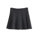 High Waist Plain A-Line Zip Side Skater Mini Skirt