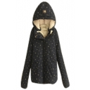 Hooded Star Print Wool Lining Long Sleeve Padded Coat