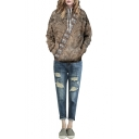 Brown Animal Fur Print Long Sleeve Hooded Sweatshirt