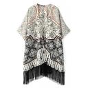 Vintage Floral Print Batwing Half Sleeve Tassel Hem Kimono