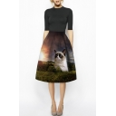 Huge Cat & Forest Print A-Line High Waist Midi Skirt