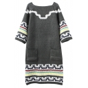 Boat Neck Raglan Sleeve Geometric Patterned Double Pockets Long Sweater