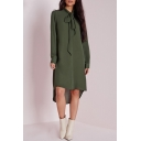 Bow Tie Neck Long Sleeve High Low Button Down Shirt Dress