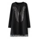 Black Swing Beading Front Tassel Hem Long Sleeve Midi Dress