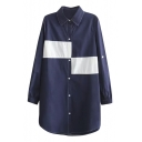 Button Down Long Sleeve Color Block Lapel Longline Shirt