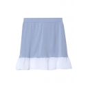 Elastic Waist Chiffon Patchwork Color Block Short Skirt