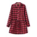 Red Lapel Drawstring Waist Long Sleeve Button Front Shirt Dress