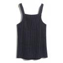 Single Pocket Vertical Stripes Loose Mini Tweed Overall Dress