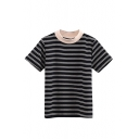 Round Neck Short Sleeve Stripes Color Block Slim Tee