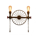 20'' Wide Two Lights Wheel Industrial LED Wall Sconce in Grey Finish