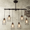 33.46'' Wide Adjustable Wire 6 Lights LED Multi Light Pendant