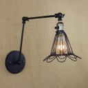 Indoor Adjustable LED Wall Sconce with Iron Petal Cage