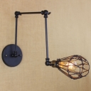 Satin Black Finish One Light Indoor Adjustable LED Wall Sconce