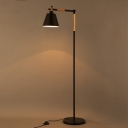Satin Black 1 Light Adjustable LED Floor Lamp with Wood Accents