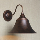 Single Light LED Wall Light with Bell Shade in Antique Copper