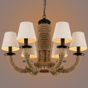 Restoration 26'' Wide Matte Black 6 Light Rope Chandelier with Fabric Shade