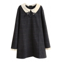 Doll Neck Bow Detail Plaid Tweed Long Sleeve Lace Patchwork Dress