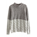 Vintage Cable Knit Color Block Round Neck Sweater