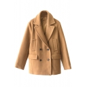 Vintage Double Breasted Notched Lapel Woolen Coat
