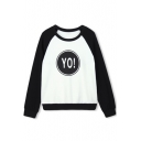 Raglan Sleeve Color Block Letter Print Round Neck Sweatshirt