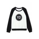 Raglan Sleeve Color Block Letter Print Round Neck Sweatshirt