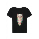 Cute Owl Print Round Neck Short Sleeve Tee