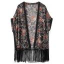 Vintage Floral Print Half Sleeve Tassel Hem Long Kimono