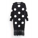 Polka Dot Lace Patchwork Long Sleeve Knit Color Block Dress
