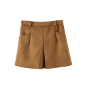 Plain Suede Double Pockets Midi Waist Loose Shorts