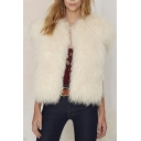 Open Front White Cap Sleeve Faux Fur Plain Collarless Vest