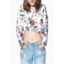 Round Neck Long Sleeve Floral Print Cropped Pullover Sweatshirt