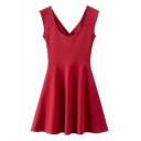 U-neck Cross Back Cutout Sleeveless Plain Fit Mini Dress