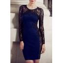 Round Neck Lace Patchwork Bodycon Blue Mini Dress