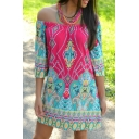 Off The Shoulder 3/4 Length Sleeve Tribal Print Mini Dress