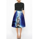 Sword Cat & Lightning Print Blue A-Line Midi Skirt