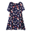 Scoop Neck Short Sleeve Floral Print Zip Back Chiffon Swing Dress