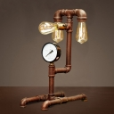 Rust Iron Three Light Plumbing Pipe LED Table Lamp with Steampunk Accents
