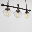 LED Island Chandelier with Clear Schoolhouse Shade