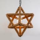 Natural Rope Star Shape Single Light Hallway LED Mini Pendant