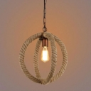 Retro Single Orb Pendant Light with Hemp Rope Indoor Accent Lights for Restaurant Cafe Bar Counter