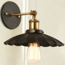 1 Light LED Wall Sconce with Aged Scalloped Metal Shade in Black
