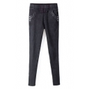 Elastic Waist PU Patchwork Stretch Black Skinny Jeans
