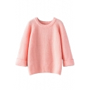 Plain Round Neck Turn Up Cuff Raglan Sleeve Sweater