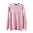 Plain High Neck Beading Dip Hem Sweater