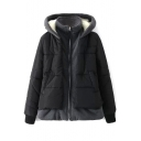 False Two-Piece Zipper Hooded Thickened Padded Coat