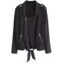 Plain Lapel Inclined Zipper Tie Front Black Coat