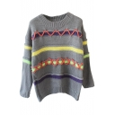 Stripes Color Block Cross Tie Front Long Sleeve Sweater