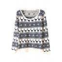 Christmas Deer & Geometric Print Scoop Neck Sweater