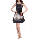Black Galaxy Print Slim Sleeveless Round Neck Dress