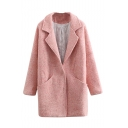 Notched Lapel Double Pockets Single Breasted Patchwork Tweed Coat